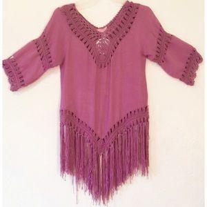 Women's Boho Crochet Fringe Top/Swim Cover-Up